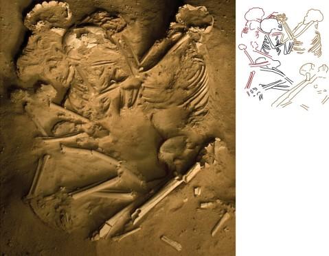 שרידי אישה וילדיה שנקברו בתנוחת חיבוק