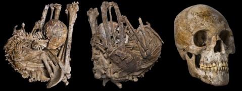 גולגולת ושלד של גבר טנרי שנקבר כשחלקו האחורי נתון בשריון צב