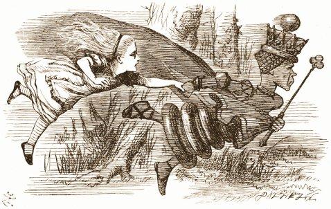 """מרוץ המלכה האדומה. איור: ג'ון טניאל, מתוך ספרו של לואיס קרול """"מבעד למראה ומה אליס מצאה שם""""."""