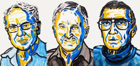 איור של סנג'ר, מודריץ' ולינדאל. זוכי פרס נובל לכימיה לשנת 2015.