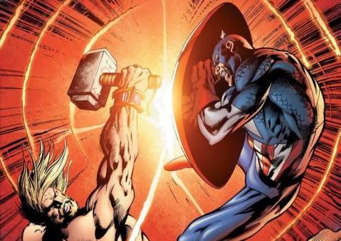 ת'ור מכה במגן של קפטן אמריקה
