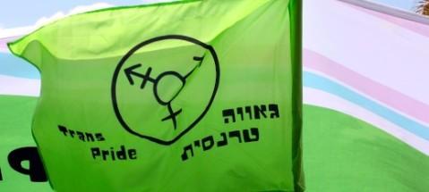 """דגל ירוק עם סמל הטרנסג'נדריות עליו והכיתוב """"גאווה טרנסית"""""""